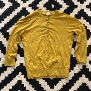 J. Crew 'The Clare' Mustard Yellow Cardigan Medium